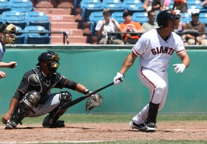 Ricky Oropesa gave the Giants an early lead in Game 5 with a first-inning two-run home run
