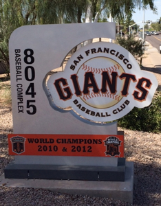 Minor leaguers play their spring training home games at the Giants Baseball Complex - a short drive from Scottsdale Stadium