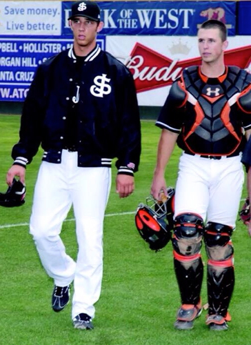 Madison Bumgarner and Buster Posey with the San Jose Giants during the 2009 season