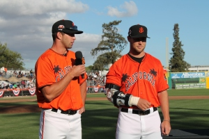 Strickland (R) returned to San Jose for the California-Carolina League All-Star Game just weeks after undergoing Tommy John surgery