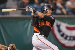 Third baseman Ryder Jones leads the Giants in doubles (17) and RBI's (33)