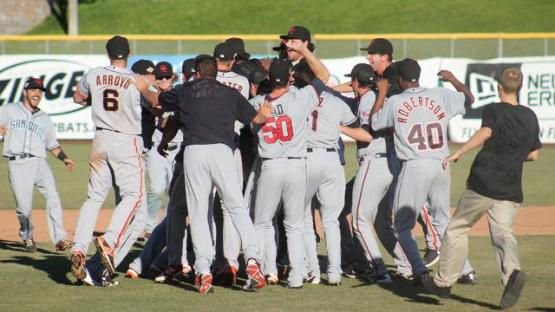 The Scottsdale Scorpions celebrate the Arizona Fall League championship last Saturday (photo courtesy MLB.com)