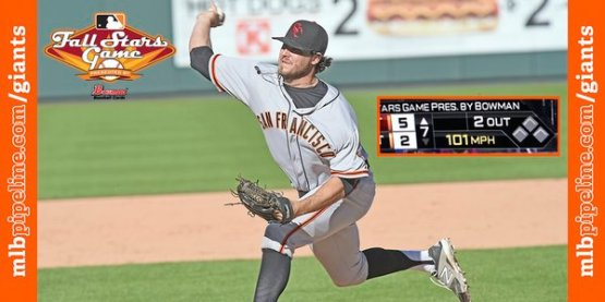Former San Jose reliever Ray Black hit 101 MPH during his perfect inning of relief in last Saturday's AFL Fall Stars Game