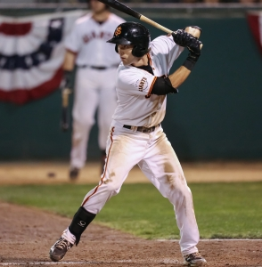 Steven Duggar played for the Giants during the postseason last September