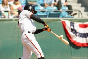 Outfielder Steven Duggar hit his eighth home run of the season in yesterday's win over Visalia